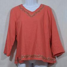 Women's Size L Christopher & Banks Cute Orange w/Floral & Sequins Blouse / Tunic