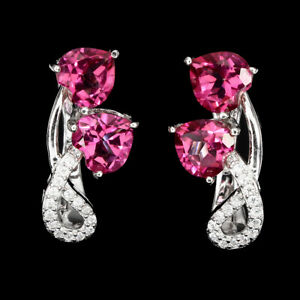 FLAWLESS! AAA RICH PINK TOPAZ EARRING WITH WHITE  CZ ACCENTS 925 STERLING SILVER