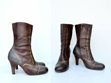 Calleen Cordero Brass Studded Boots - Mid Calf Boots - Victorian Style Boho 8.5