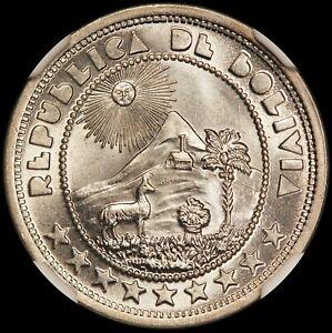 1937 Bolivia 10 Centavos Coin - NGC MS 64+ KM# 180