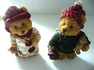 WINTER DECORATION - BROTHER & SISTER WITH THEIR TEDDY BEARS