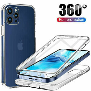 360 FRONT AND BACK CLEAR CASE FOR IPHONE 11 12 PRO MAX 13 Mini Shockproof COVER