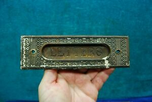 Antique Victorian Ornate Cast Iron Mail Letters Door Slot  Old Salvaged Hardware