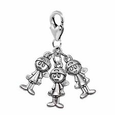 Triplets 3 Boys Brothers Babies Siblings Lobster Clip Dangle Charm for Bracelet