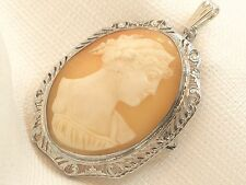 Antique Sterling Silver Ostby and Barton Big Cameo Filigree Pin Pendant Brooch