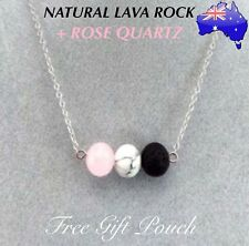 Natural Lava Rock Rose Quartz Stone Aromatherapy Essential Oil Diffuser Necklace