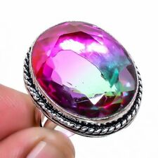 Bi-Color Tourmaline 925 Sterling Silver Jewelry Ring s.8 LR-6665