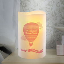 Personalised Pink Up & Away Girls LED Candle Kids Bedroom Night Lamp Light Gift