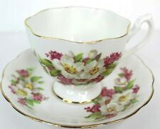 Queen Anne Vintage Bone China Tea Cup and Saucer With White Flowers England