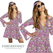 60s 70s Fancy Dress Costume Flower Power HIPPY HIPPIE RETRO GOGO
