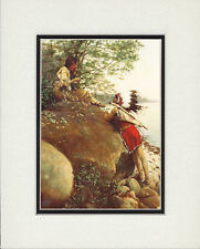 """Native American Indian Valentines Matted Art Print """"The Wooing"""" vintage photo"""