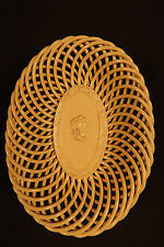 RARE SIGNED 1800s 8 INCH WOVEN PLATE YELLOW WARE MINT