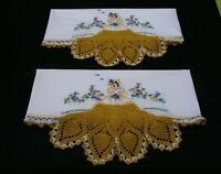 New PillowCases (2) Sateen Cotton Hand Embroidered Crochet Southern Belle 4#