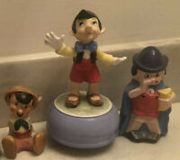 Vintage LOT Of 3 Walt Disney Pinocchio Figurines Schmid Rare