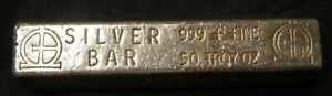 ***ULTRA RARE*** VINTAGE 50 OZ OMEGA M&B MINING POURED .999 SILVER BAR