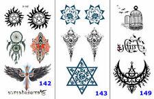 1 Set (3pcs) Sun Moon Star Cross Bird Case Totem Waist Arm Neck Tattoo Stickers