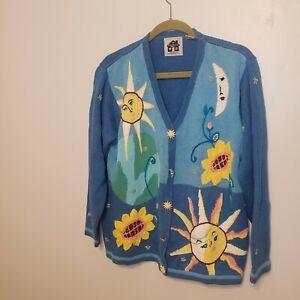 Storybook Knits Women's Cardigan Sweater Sun Moon Flowers  Blue  1X
