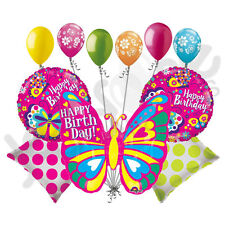 11 pc Bright Colorblast Pink Happy Birthday Butterfly Balloon Bouquet Decoration