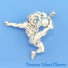 SOCCER PLAYER MALE EURO FUTBOL 3D .925 Solid Sterling Silver Charm FOOTBALL
