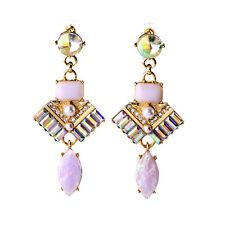 orecchini A perno Dorato Art Deco Goccia Rosa Grandi Perla Vintage AA 13