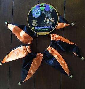 Halloween DOG Rubie's Costume Jester Collar Orange + Black  Medium / Large NWT