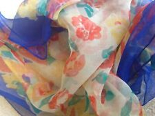 Vintage Silk Crepe Chiffon Head Square Scarf Red Yellow Floral 40's 50's Retro