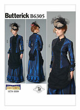 Butterick B6305 Making History PATTERN Victorian Top and Drape-Front Skirt 6-22