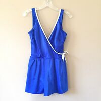 Vintage 70's Robby Len White Blue Skirted Swimsuit Size 40 IGLWU union Made USA