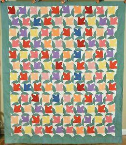 Colorful Vintage 30's Deco Pieced Tulips Antique Quilt ~UNUSUAL DESIGN!
