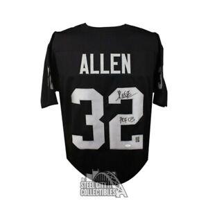 Marcus Allen Autographed Raiders Custom Black Football Jersey HOF 03 - JSA COA