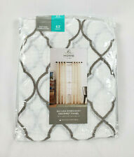"JCPenney Home White Gray Bayview Embroidery Grommet Curtain Panel, 50""x63"""