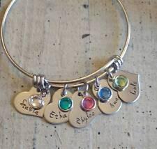 Child's Name family Birthstone charm Bracelet Custom Personalized Mother grandma