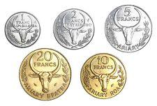 Madagascar Set 5 coins 1 2 5 10 20 Francs 1983-2002 KM#8 9 11 12 21 XF-UNC