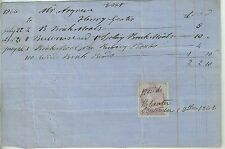 1866 Reciept for Bricks & Tools with British Revenue Stamp