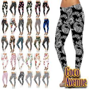 Ladies Printed Leggings Full Length Stretchy Trouser Casual Pants Plus Size