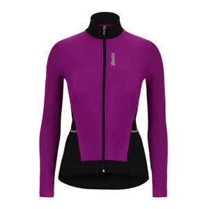 Women's Stella Long Sleeve Cycling Jersey in Purple - Size M - by Santini