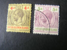*SOLOMON ISLANDS, SCOTT # 33/34(2). 4p+5p. VALUES 1914-23 KGV ISSUE USED