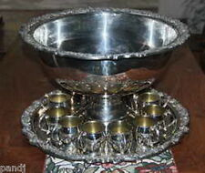 FB Rogers SILVERPLATE PUNCH BOWL and TRAY with 12 CUPS