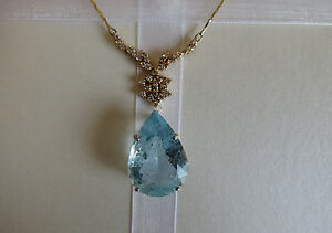 Estate Huge Santa Maria 31.3 ct Diamond & Aquamarine 18k gold pendant necklace