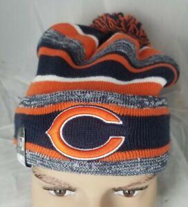 NFL New Era Striped Pom Knit Cap On-Field Chicago Bears Beanie Hat NWT OSFM $31