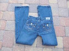 "Made USA AUTH""TRUE RELIGION""Joey Super T Logos Zig-Zag Seam Jeans size 29 CUTE!"