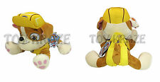 "PAW PATROL PLUSH BACKPACK! RUBBLE YELLOW BULLDOG SOFT DOLL PUPPY DOG K9 14"" NWT"