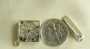 "Sterling Silver Box Clasp Single Strand Square Cut out Design 1"" long"