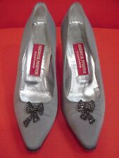 ANDREA PFISTER Couture Metallic Silver Grey Satin Pumps Heels Embellished Sz 7.5