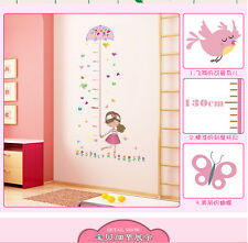 Umbrella Measure Height Girl Removable Vinyl Wall Sticker Decal Baby Room Decor