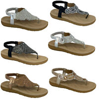 Ladies Flat Sandals Womens Diamante Sling Back Toe Post Shoes Summer Fashion New