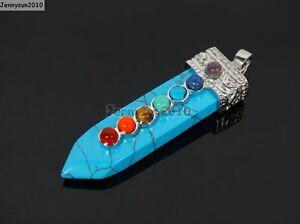 Natural Precious Gemstone Reiki Chakra Sword Shape Pendant Charms Silver Plated