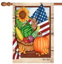 New listing New Toland - American Harvest - Colorful Patriotic Fall Vegatable House Flag