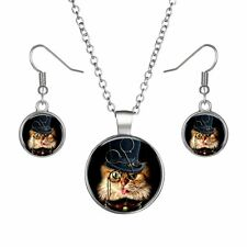 Silver Plated Women Ladies Cute Cat Time Gem Earrings Necklace Jewelry Set Hot