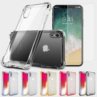 Fits Iphone XS Max Case Clear Hybrid Shockproof Bumper w/ Class Screen Protector